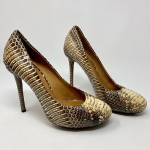 L.A.M.B. Prissy Snake Platform Pumps Brown / Tan
